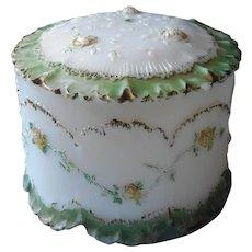 Big Milk Glass Jar Box Antique Roses Powder Tobacco Painted