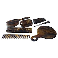 1920s Celluloid Faux Tortoise Vanity Dresser Set Boxes Mirror Brush Comb Etc