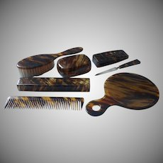 1920s Celluloid Faux Tortoise Vanity Dresser Set Boxes Mirror Brush Comb Etc