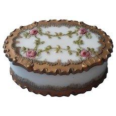 Antique Milk Glass Trinket Box Vanity Roses Ruffles Painted