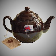 Brown Betty Teapot Caledonia Pottery Never Used Original Hang Tag