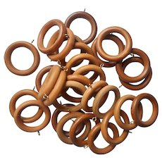 Vintage Wooden Curtain Rod Rings Wood Set 28 Sew On Style