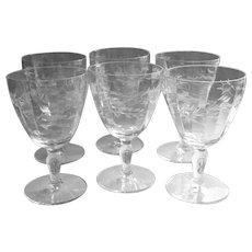 Vintage Crystal Water Goblets Set 6 Glasses Floral Cut Wide