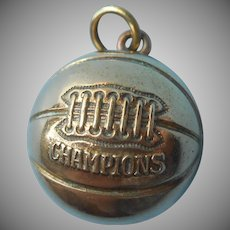 1930s Basketball Champions Charm Pendant Vintage Gold Filled