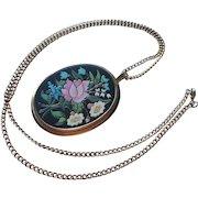 Vintage Pendant Necklace Faux Pietra Dura 1970s Avon