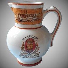 Glenlivet French Faience Pottery Water Pitcher Jug Vintage