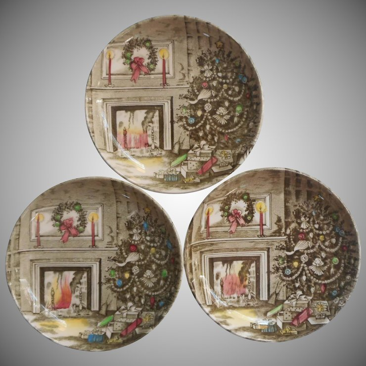 Johnson Brothers Merry Christmas Vintage 3 Coasters Butter Pats ...