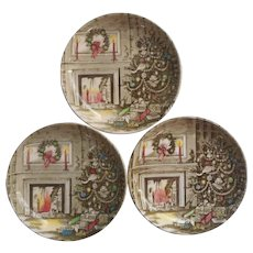 Johnson Brothers Merry Christmas Vintage 3 Coasters Butter Pats Ashtrays China