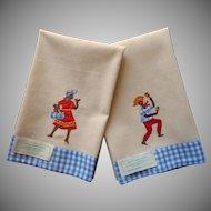 Vintage Jamaican Towels Hand Embroidery Appliqued Islander Woman Man Original Labels