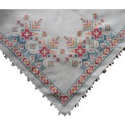 Vintage Tablecloth Linen Cross Stitch Hand Embroidery Simple Lace