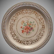 Vintage Tole Painted Metal Tray Round Lacy Pierced Rim Shabby Sweet