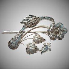 Vintage Chinese Export Filigree Pin Bird Peony Flower Branch