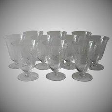 Vintage Crystal Juice Glasses Tumblers Footed Floral Cut Decoration Set 10