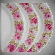 3 Antique Bavarian Dessert Plates Pink Roses China Zeh Scherzer