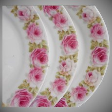 3 Antique Bavarian Dessert Plates Pink Roses China Zeh Scherzer