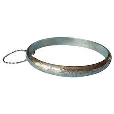 English Sterling Silver Hinged Bangle Bracelet Vintage