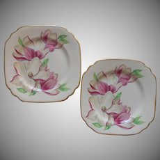 Magnolia Syracuse China Square Dessert Plates Vintage Pink Flower Series