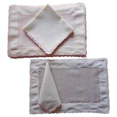 Madeira Pink Cream Organdy Linen Placemats Napkins Set Vintage Hand Embroidered
