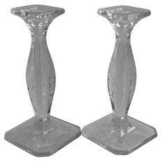 Vintage Etched Glass Tall Candlesticks Pair Flowers Heavy Handsome