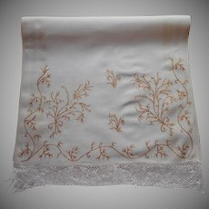 Victorian Runner Brown Silk Embroidery Of Seaweed Antique Linen TLC Lace