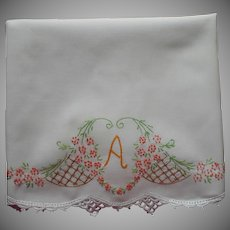 Monogram A Pillowcase Vintage Hand Embroidered Cotton