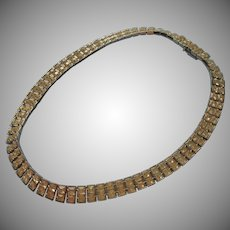 Vintage Necklace Square Rhinestones Collar 1940s 50s