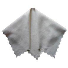 Tea Tablecloth Vintage Simple Natural Linen Scalloped Edges