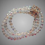Vintage Crystal Bracelet AB Beads Three Strand Great Rhinestone Clasp