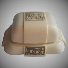Vintage Ring Box Jeweler's Double Two Ring Hard Plastic Art Deco