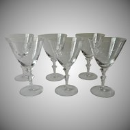 Fine Water Goblets Vintage Wide Rims Abstract Floral Cut Ornate Stems Glasses
