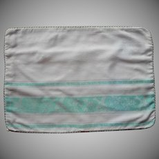 Pillow Sham Vintage Aqua White Damask Mother Of Pearl Plastic Buttons Eyelet