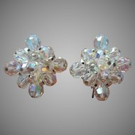 Vintage Earrings AB Cut Crystal Beads Unusual Square Shape Clip