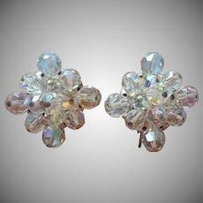 Vintage Earrings AB Cut Crystal Beads Unusual Square Shape Clip