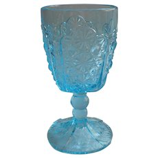 Daisy and Button Blue Goblet Vintage Pressed Glass L. G. Wright