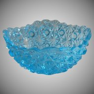 Daisy And Button Blue Glass Bowl Squared Shape Small Vintage to Antique