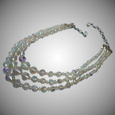Vintage Crystal Necklace 3 Strand AB Cut Beads