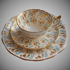 Turquoise Gold Royal Chelsea Bone China Trio Cup Saucer Vintage Tea Plate