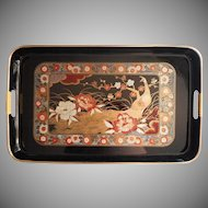 1980s Japan Set 3 Faux Lacquer Trays Unused Rich Spice Colors Black Gold