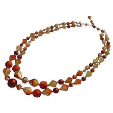 1950s Necklace Vintage Plastic Beads Fall Colors Chunky Two Strand