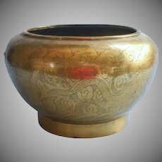 Vintage Brass Bowl Planter Chinese Dragon Engraving As Is