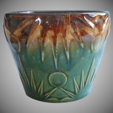 Vintage McCoy Green Brown Glazed Pottery Planter Pot Vintage Sun and Moon