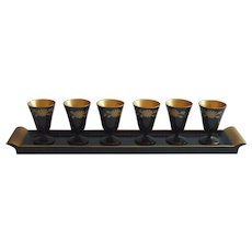 Vintage Lacquer Wood Japan Sake Liqueur Shots Ser Tray Stemmed Glasses Black Gold
