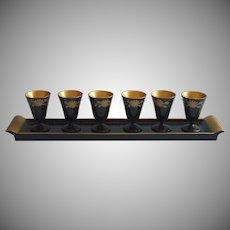 Vintage Lacquer Wood Japan Sake Liqueur Shots Ser Tray Stemmed Glasses Black Gold