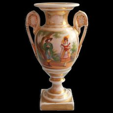 Old Paris Urn Form Vase Antique Senic And Man Woman Regional Costume - Red Tag Sale Item