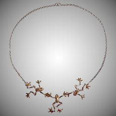 Barry Kieselstein Cord Vintage Necklace Frogs Sterling Silver