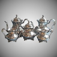 Antique Tea Set Silver Plated Forbes Teapot Hot Water Pot Creamer Sugar Waste Bowl