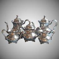 Antique Tea Set Silver Plated Forbes Teapot Hot Water Pot Creamer Sugar Waste Bowl