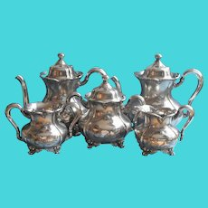 Victorian Tea Set Silver Plated Forbes Teapot Hot Water Pot Creamer Sugar Waste Bowl Antique