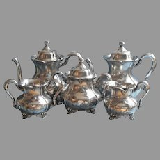 Victorian Tea Set Silver Plated Forbes Teapot Hot Water Pot Creamer Sugar Waste Bowl Antique