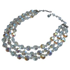 Vintage Crystal Necklace AB Beads 3 Strand Flat Surface Cut